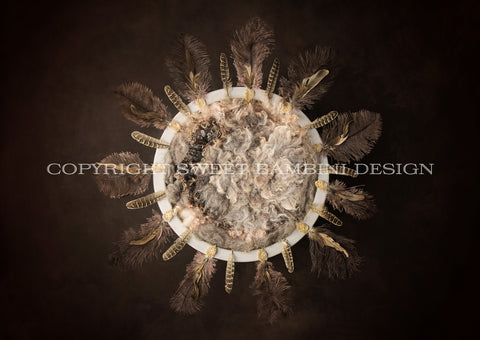 Newborn Digital Background for girls or boys - Feather nest on rich brown background