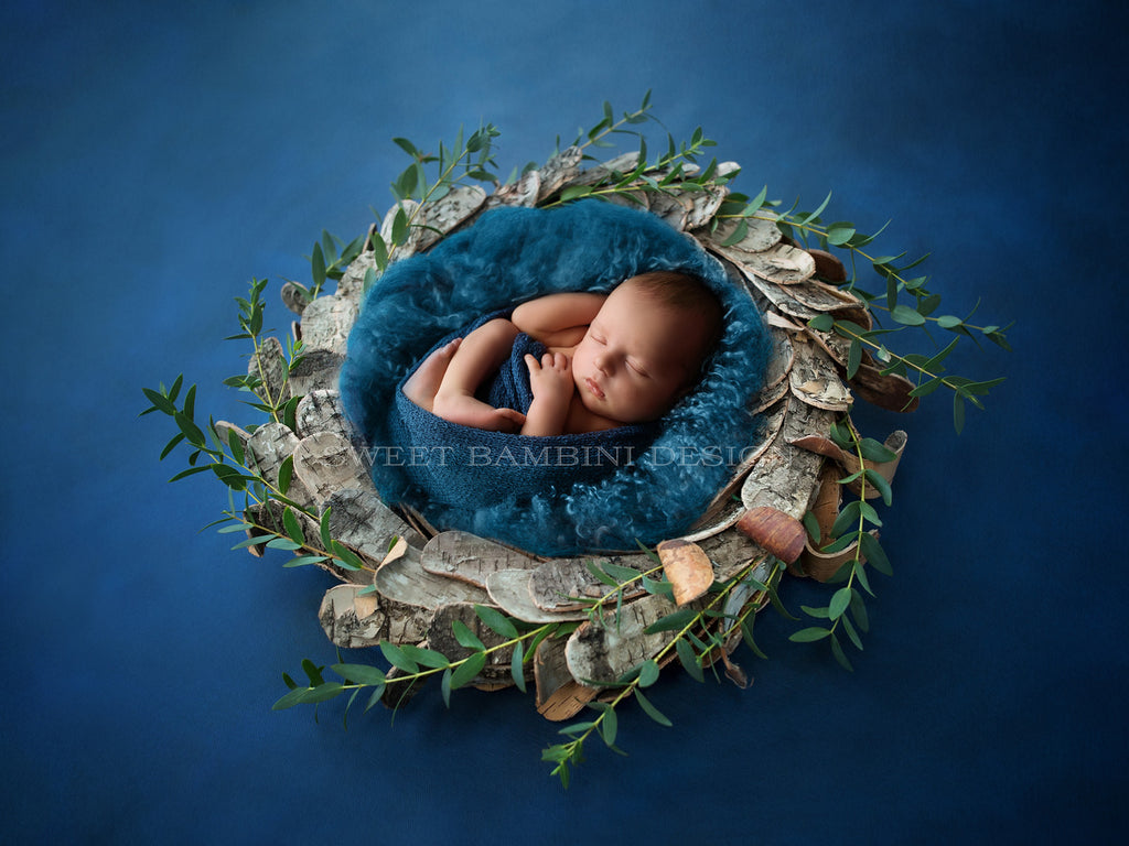 Digital Photography Backdrop for boys or girls - newborn backdrop, Rustic, Wooden bowl, Fresh Foliage, Shot from Side