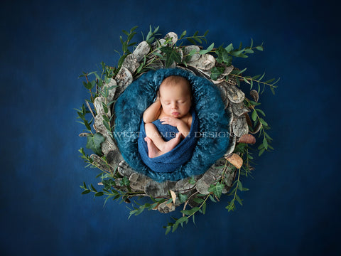 Digital Photography Backdrop for boys or girls - newborn backdrop, Rustic, Wooden bowl, Fresh Foliage, shot from above