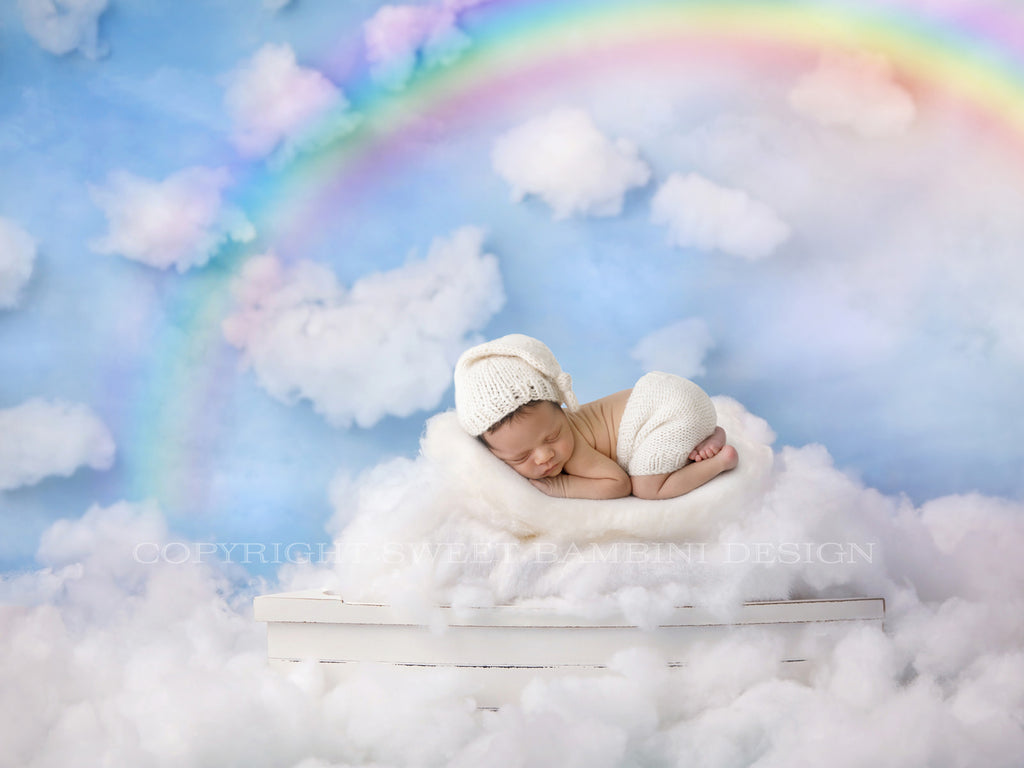 Dreamboat White Fluffy Clouds 3 versions - rainbow, rays and plain, rainbow baby