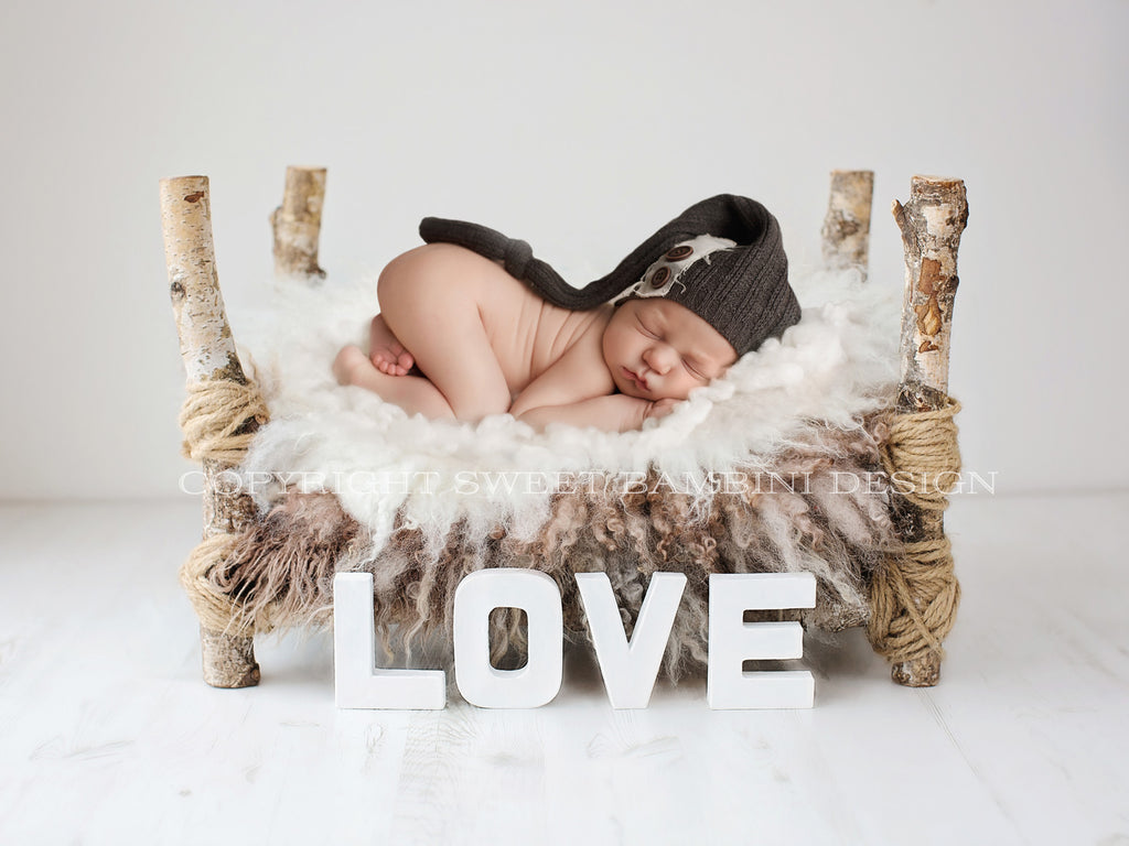 Rustic Love Bed Instant Download - newborn digital backdrop simple/organic