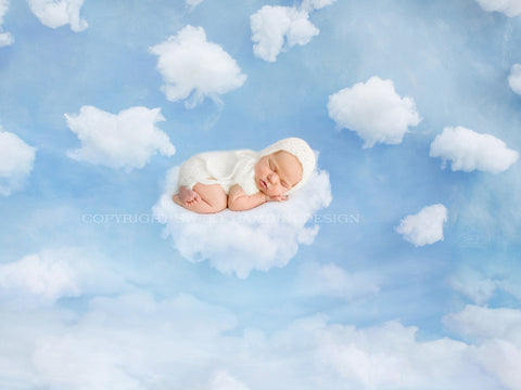 "Newborn Photography Digital Backdrop for boys or girls - "" On Cloud 9"""