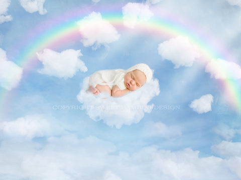 Newborn digital backdrop - On Cloud 9 - LAYERED .PSD FILE
