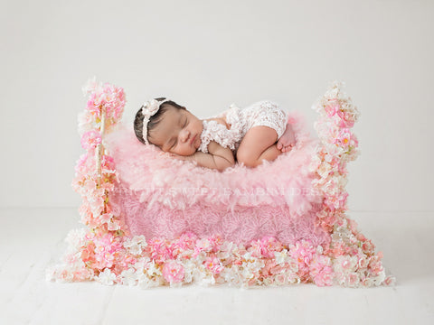 Newborn Photography Digital Backdrop for girls - Cherry Blossom Bed
