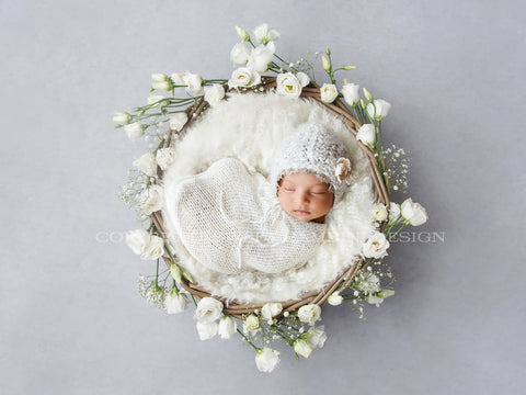 Newborn Digital Backdrop for girls -  White Lisianthus Flower Nest