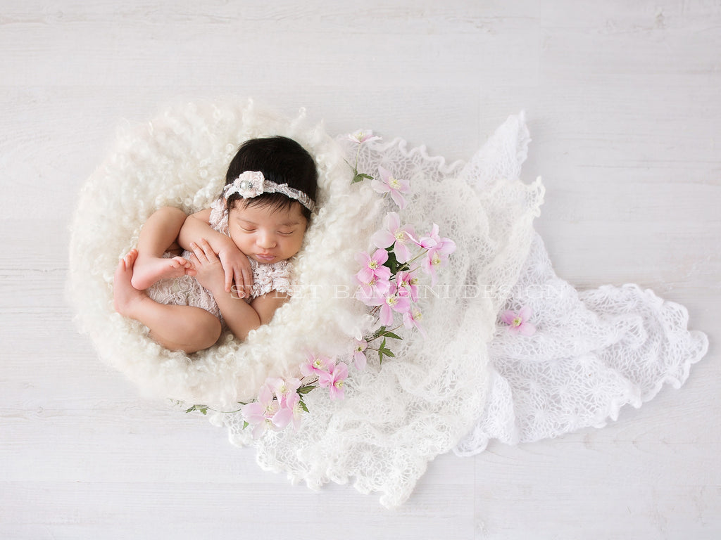 Newborn Photography Digital Backdrop for girls- Simple white nest with fresh pink flowers and white lace.