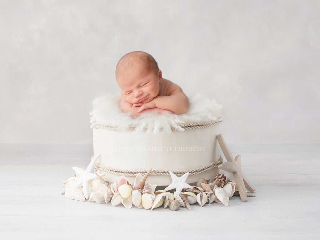 Newborn Photography Digital Backdrop for boys or girls - Simple white bowl with sea shells and starfish in neutral tones.