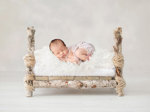Newborn Photography Digital Backdrop for girls or boys - Simple rustic bed