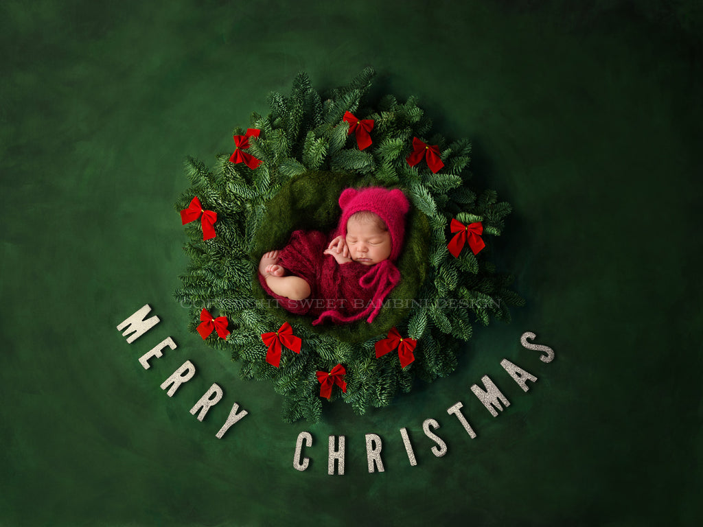 Christmas Digital Backdrop for newborn boys or girls - MERRY CHRISTMAS, fresh wreath with Red Bows