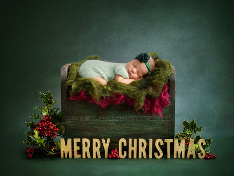 Christmas Newborn Photography Digital Backdrop for boys or girls - MERRY CHRISTMAS, little wooden bed on green background with fresh holly