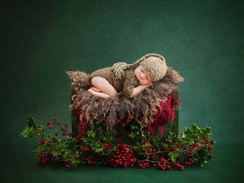 Christmas Digital Backdrop newborn - Little wooden bed, shot on a green background with fresh holly and red berries
