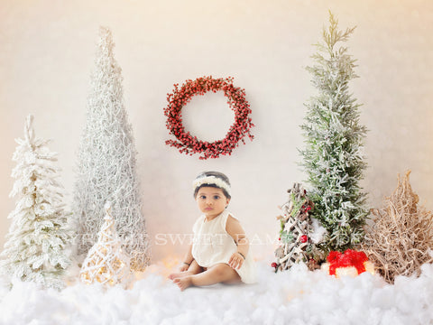Sitter Christmas digital backdrop - Lovely woodland scene with snowy trees and a Christmas Wreath