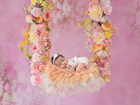 Newborn Photography Digital Backdrop for girls - Zara - Beautiful Floral Swing with Peach Fur, Shot on a Pink Background