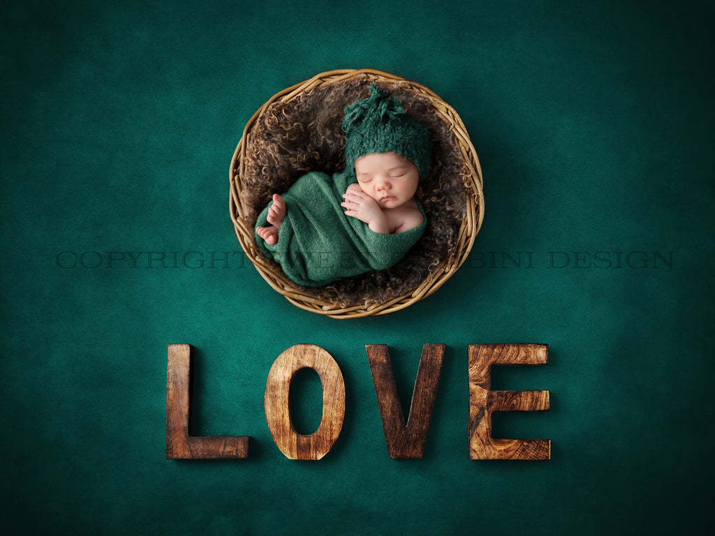 Newborn Digital Backdrop for boys or girls - Rustic Love on a Teal Background
