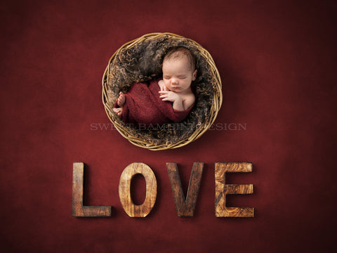 Newborn Digital Backdrop for boys or girls - Rustic Love on a Rich, Burgundy Background