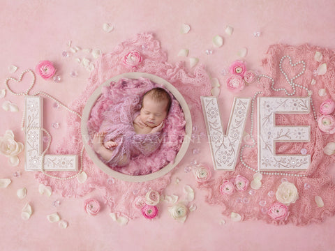 Newborn Digital Backdrop for girls - Vintage Love - Pearls, roses and ranunculus - pink middle