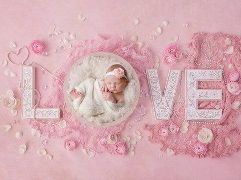 Newborn Digital Backdrop for girls - Vintage Love with cream middle