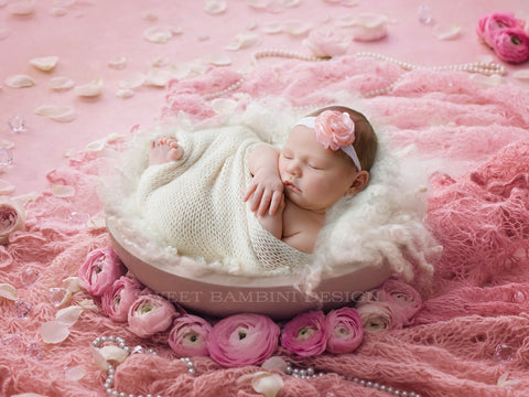 Newborn Digital Backdrop for girls - Vintage pinks with fresh flowers side/back lit