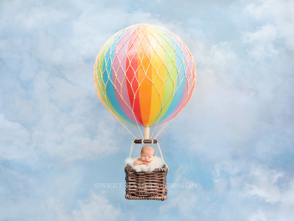 Newborn Digital Backdrop - Hot Air Balloon on a sky blue background, Rainbow baby