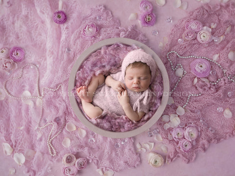 Newborn Digital Backdrop for girls - Simple white bowl, on a dusky purple background with purple middle with pearls