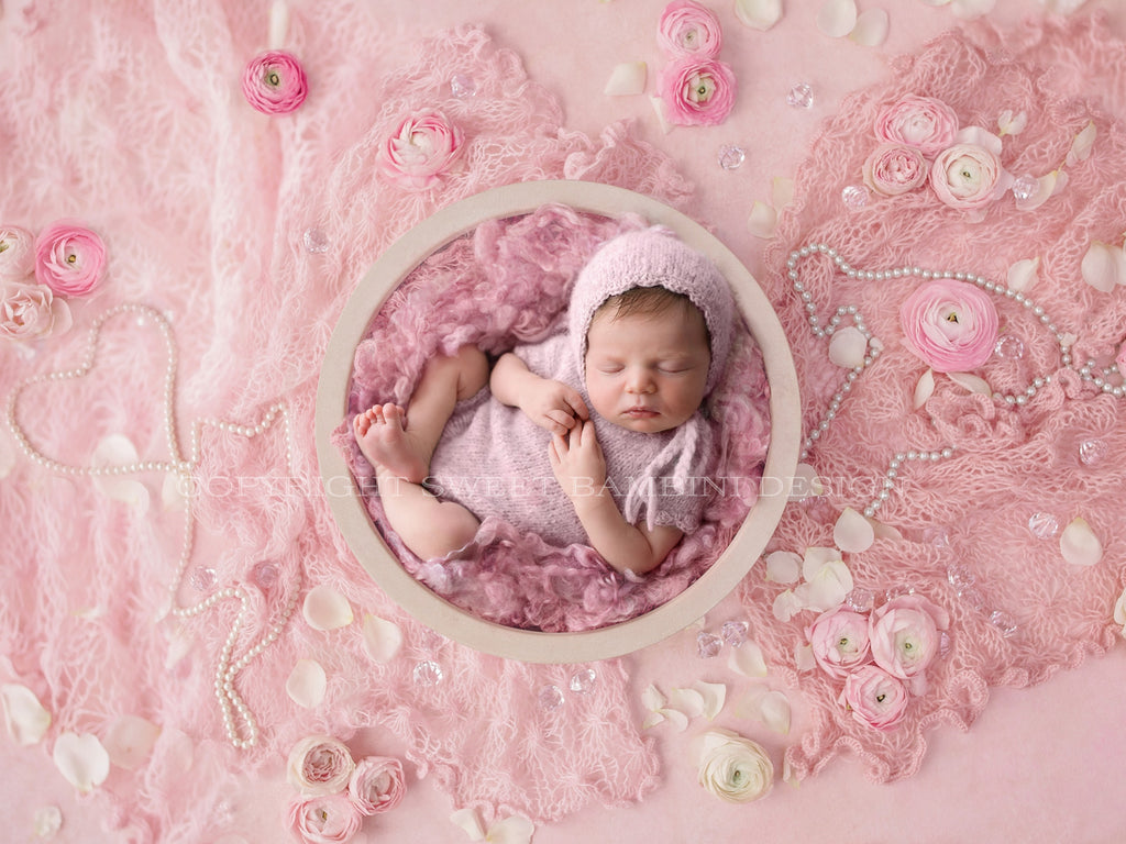 Newborn Digital Backdrop for girls - Simple white bowl shot on a pink background with pearls and roses
