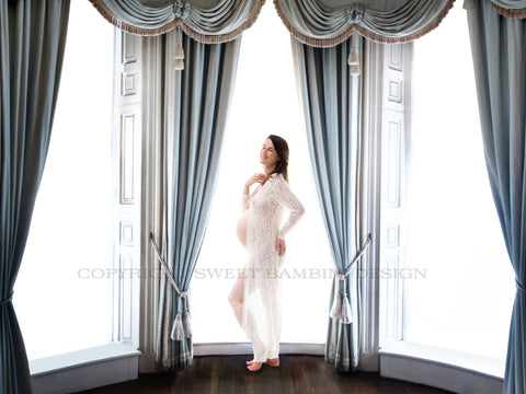 Maternity Digital Backdrop - Bright windows with luxurious curtains