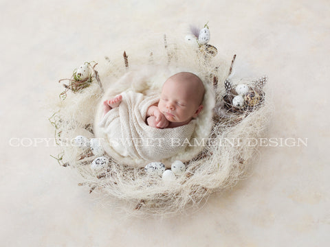 Easter Digital Backdrop for newborns - Natural nest with little eggs and a white middle shot from side