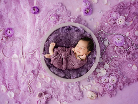 Digital Backdrop for newborns -  Bowl with a purple middle, decorated with purple flowers, pearls and crystals