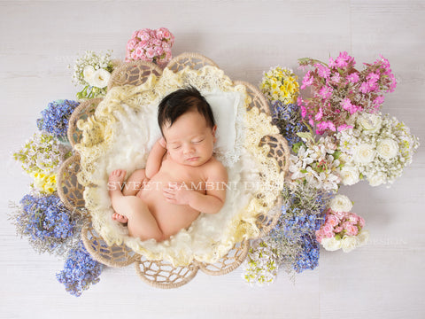 Digital Backdrop for newborns - Wicker basket with white fluffy middle and beautiful spring flowers