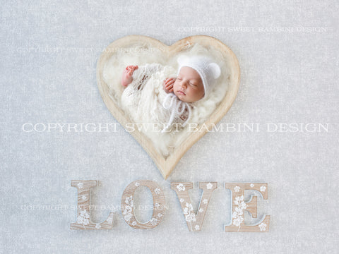 Newborn Digital Backdrop - LOVE - Simple white heart bowl shot on a lightly textured grey background
