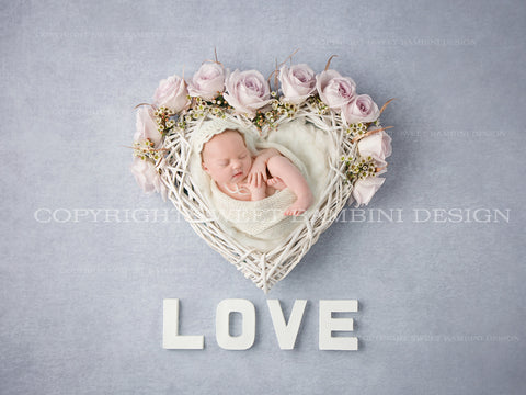 Newborn Digital Backdrop for newborns - heart shaped wicker nest with gentle pink fresh roses