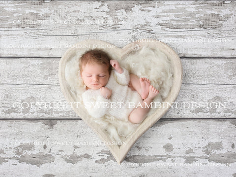 Newborn Digital Backdrop - Simple white heart bowl , Unisex,  instant download, minimalist
