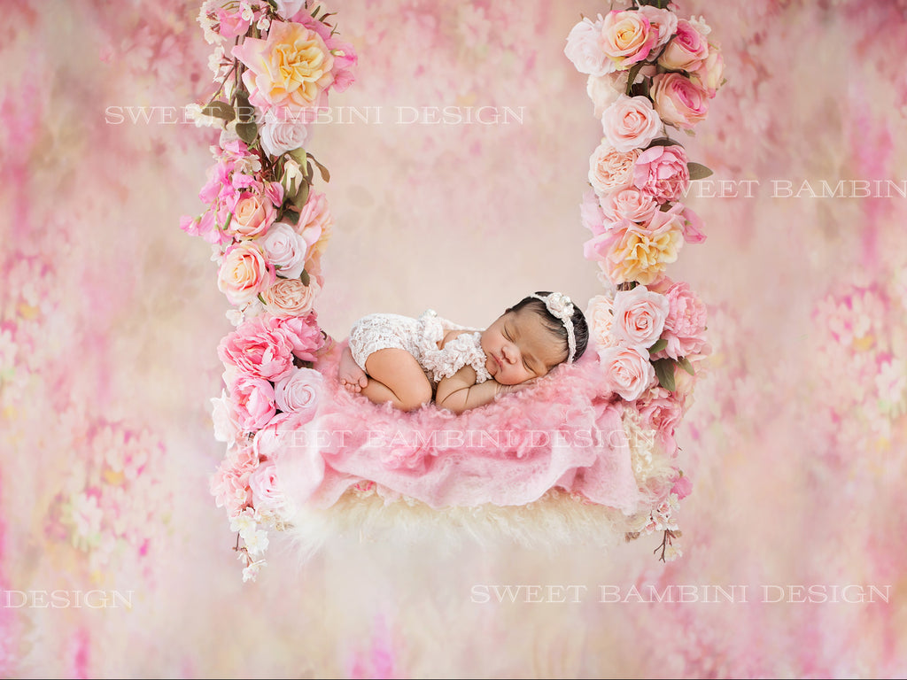 Newborn Digital Backdrop - Alayah floral swing