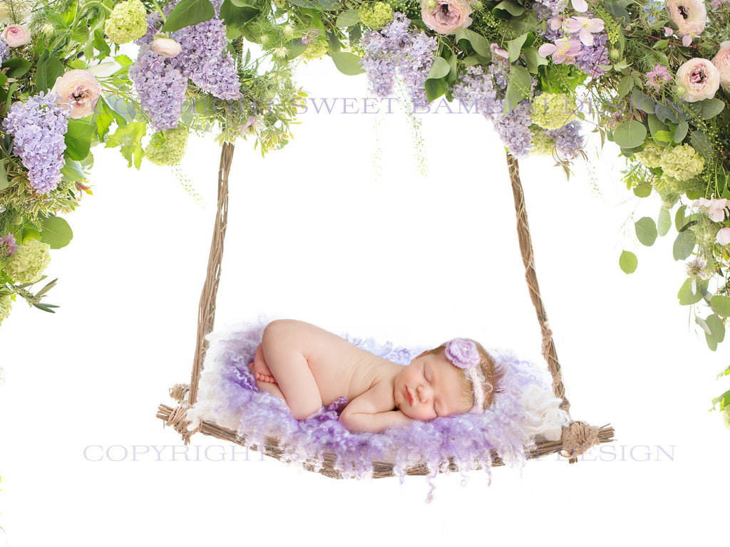 Newborn Digital Backdrop for girls - Beautiful Floral Swing with fresh Lilac