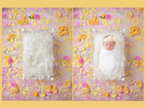 Newborn Digital Backdrop - Little rose bed