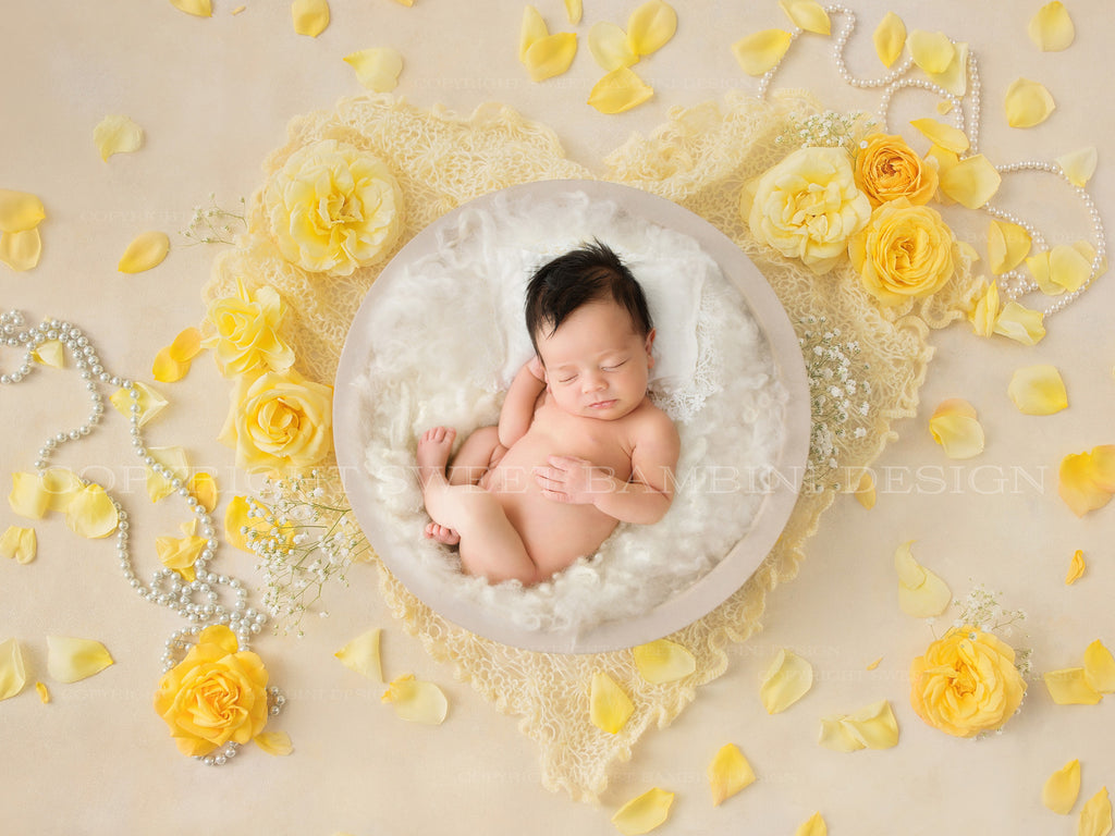 Newborn Digital Backdrop - White bowl with yellow roses and pearls