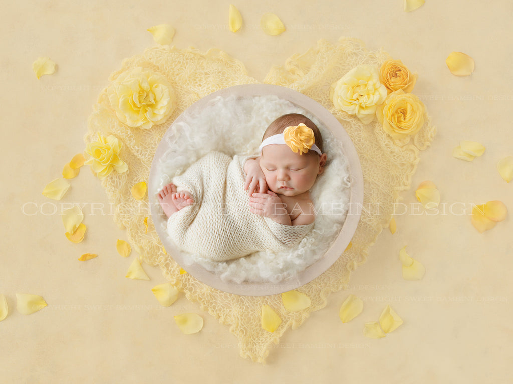 Newborn Digital Backdrop - White bowl with yellow roses and yellow heart