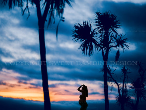 Maternity Digital Overlay - beautiful sunset and palm background