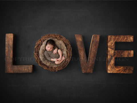 Newborn Digital Backdrop for boys or girls - Rustic Love in Charcoal grey, natural wicker nest and neutral wool centre