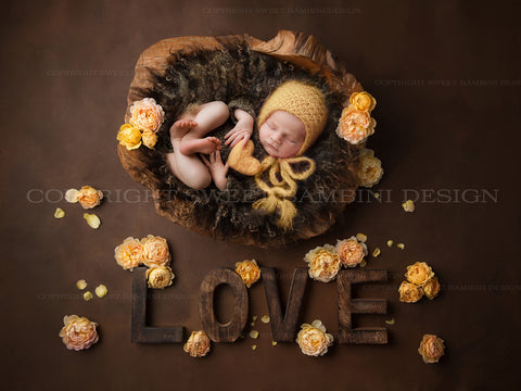 Newborn Digital Backdrop for boys or girls - Rustic Love with a wooden bowl and lemon roses