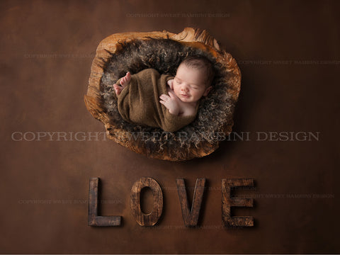 Newborn Digital Backdrop for boys or girls - Rustic Love with natural wooden bowl with brown wool middle