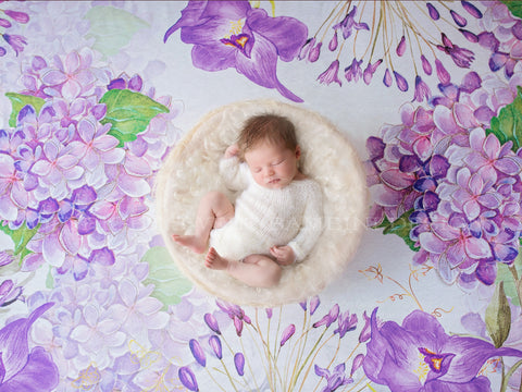 Newborn Digital Backdrop - Watercolour backdrop with lilacs and spring flowers and a simple white nest