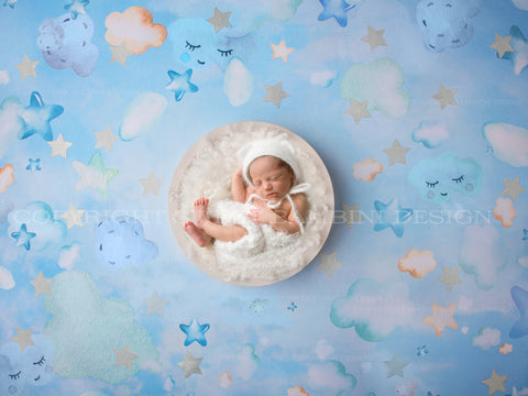 "Newborn Digital Backdrop - ""GOODNIGHT"" backdrop with silver stars"