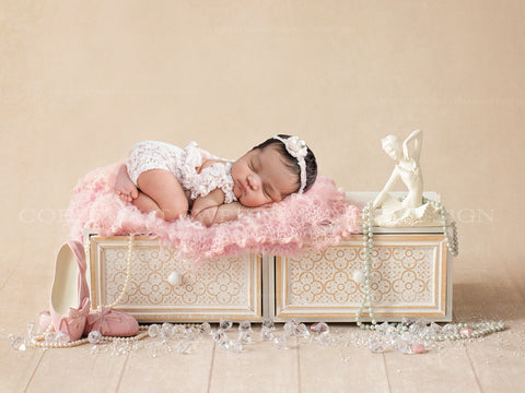 Newborn Digital Backdrop - Ballerina theme with slippers, crystals and a pretty pink wrap
