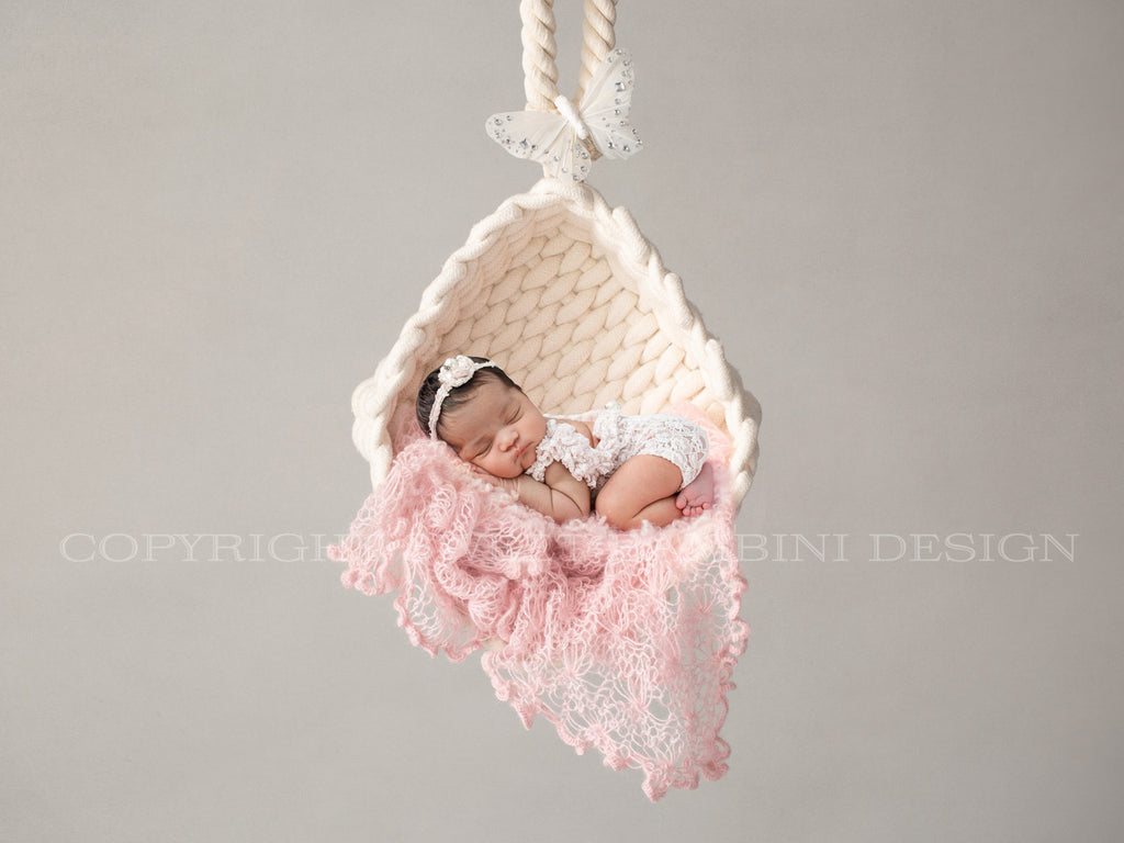 Newborn Digital Backdrop - Hanging basket with pink wrap and pretty white butterfly