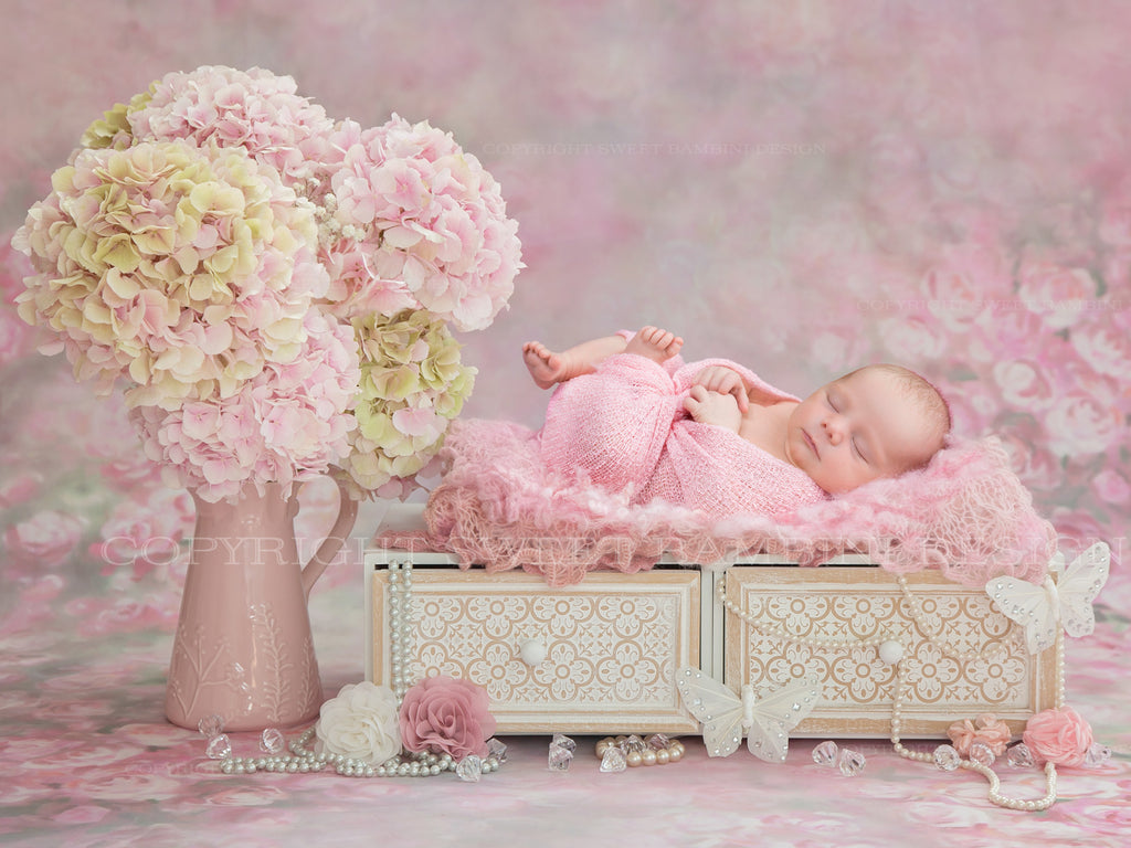 Newborn Digital Backdrop - Beautiful Pink Hydrangeas with pearls, butterflies and roses