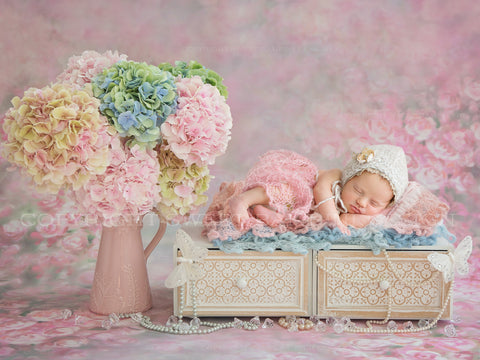 Newborn Digital Backdrop - Beautiful Hydrangeas with pearls, butterflies and crystals