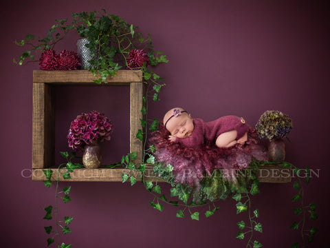 Newborn Digital Backdrop - Rustic wooden shelves with fresh hydrangeas and ivy