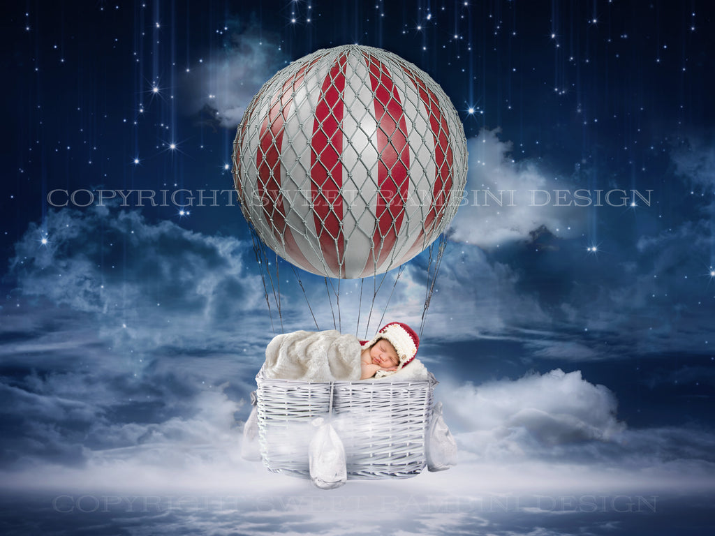 Newborn digital backdrop - Night time balloon in red - LAYERED .PSD FILE