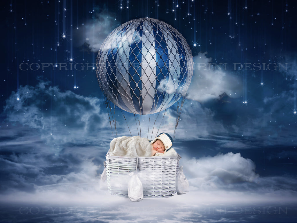 Newborn digital backdrop - Night time balloon- LAYERED .PSD FILE